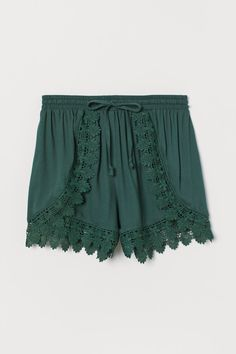 Short shorts in a viscose crêpe weave with an elasticated drawstring waist and decorative lace trims at the front and hems. Lace Trim Shorts, Daily Dress, Light Turquoise, Pink Beige, Viscose Fabric, White Patterns, Fashion Company, Shirt Shop, Crepes