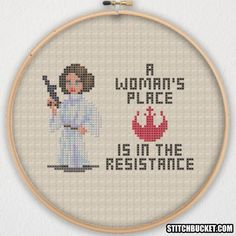 Princess Leia - A Woman's Place is in the Resistance cross stitch pattern