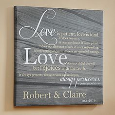 Love Is Patient Personalized Canvas Print- such a beautiful wedding gift idea!