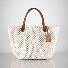 Ralph Lauren Cotton Crochet Tote in White | Lyst