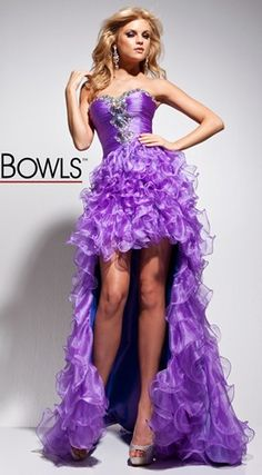 Strapless organza prom dress with ruched bodice, by Tony Bowls Le Gala