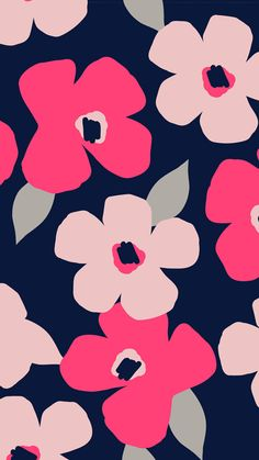 Pink Navy Flower Fall 2017, Mixed Bag Designs Marimekko Wallpaper, Print Wallpaper, Pattern Wallpaper, Illustration Blume, Pattern Illustration, Flower Phone Wallpaper, Iphone Wallpaper, Cute Wallpaper Backgrounds, Cute Wallpapers