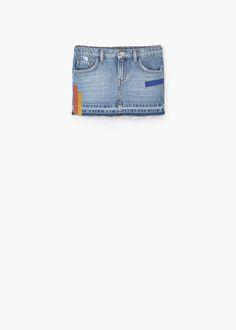 Denimowa spódnica z brokatem | MANGO KIDS