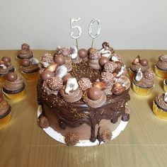 Seashells and Truffle Birthday Cake Themed Birthday Cakes, 50th Birthday, Lindt Truffles, Ferrero Rocher Chocolates, Birthday Chocolates, Lindt Chocolate, Chocolate Buttercream Frosting, Indian Desserts, Take The Cake