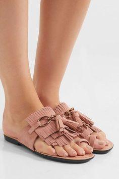 Tod's - Embellished Fringed Suede Sandals - Blush - IT38.5