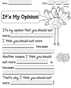 Turkey Opinion Writing from The Teachers Chair on TeachersNotebook.com (2 pages)