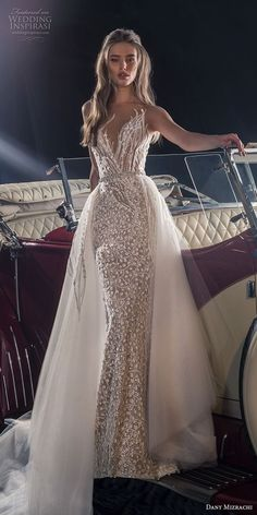 dany mizrachi fall 2018 bridal sleeveless deep sweetheart neckline full  embellishment elegant glitzy glamorous fit and flare wedding dress a line  overskirt ... 3dccd058f243