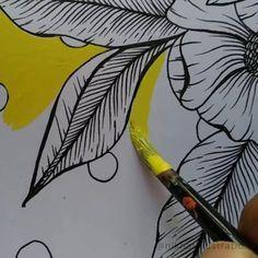 Line Art Flowers, Flower Art, Flower Line Drawings, Flower Canvas, Arte Floral, Motif Floral, Floral Design, Doodle Art Designs, Flower Illustration Pattern