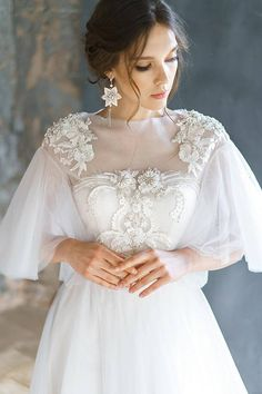 dresses tight silk AVRELIA / Pearl wedding dress with rich beautiful hand embroidery lace low back corset brautkleid ethereal tulle bridal gown short sleeves Corset Wedding Gowns, Wedding Bridesmaid Dresses, Bridal Gowns, Prom Dresses, Bridal Lace, Tulle Wedding, Wedding Cape, Mermaid Wedding, Wedding Ceremony