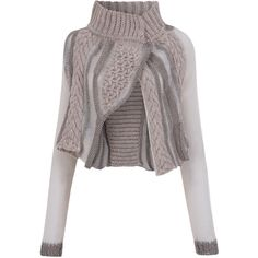 Crea Concept Beige Chunky Knit Cropped Cardigan (£250) found on Polyvore