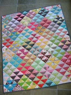 great scrappy quilt.  Looks like it's on point, but really it isn't.