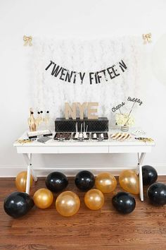 New Year's party table and decorations! See more party planning ideas at CatchMyParty.com!