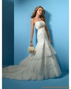 Brautmode 2013 aus Netz Schulterfreier Meerjungfrausstil mit langer Schleppe und Reißverschluß