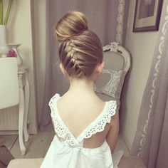 Ballerina Bun With A Braid For Girls Image source Hair style I like for the wedding for flower girl maybe? Image source 30 Super Cute Little Girl Hairstyles for Wedding | http://www.deerpearlflowers.com/super-cute-little-girl-hairstyles-for-wedding/ Image source