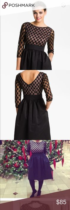 "Eliza J Dot Mesh Bodice Fit & Flare Dress size 8 Sells currently in Nordstrom for $158! Perky polka dots pattern the illusion-sleeve bodice of this pocketed cocktail dress flared by a structured taffeta skirt. Worn once. 39"" regular length Eliza J Dresses Long Sleeve"
