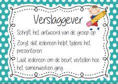 werken in groepjes/ taakverdeling School Organisation, Primary School, Classroom, Teacher, Poster, Writing Fonts, School Organization, Class Room, Professor