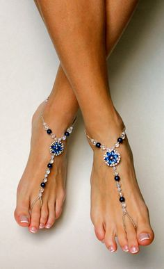 Beautiful rhinestone, pearl and crystal beaded barefoot sandals for your feet. Simple and classic design looks lovely on your feet. Comfortable to