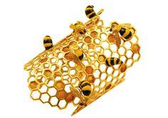 Delfina Delettrez 9K Gold To Bee Or Not To Bee Honeycomb Bracelet | Latest Revival