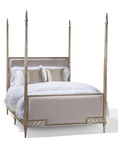 Villandry Bed by Ebanista @ebanistacollect.  4-post bed in antiqued silver finish with antiqued nailhead trim. Hand-carved and fluted posts topped with decorative finials. Headboard, footboard and siderails with inset upholstery. Available in Queen, California King, and Eastern King sizes. Discover more at http://www.ebanista.com.