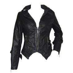 Punk Slim Leather Look Women's Jacket - Polyvore