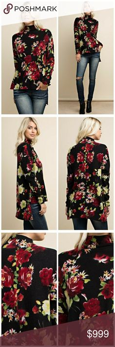 Coming soon! Floral turtleneck Floral print, long sleeve turtleneck. This warm and comfortable top is made with a knit fabric. 95% polyester, 5% spandex. Price: $36. Like to be notified when in! Tops