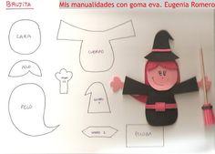 Las chorradikas de Laury: brujita de goma eva molde Adornos Halloween, Manualidades Halloween, Fun Halloween Crafts, Hand Puppets, Finger Puppets, Felt Crafts, Diy Crafts, Finger Puppet Patterns, Halloween Displays