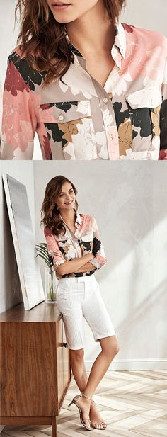 Our long sleeve floral print shirt is the perfect top to pair with your favorite tailored shorts this season for a polished summer look | Banana Republic