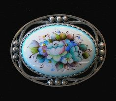 Floral Broach Russian Enamel Jewelry by RussianRostovJewell on Etsy