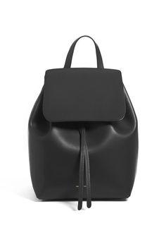 Mansur Gavriel Black Leather Mini Backpack at mansurgavriel.com | Plane to New England - Salt & Wind