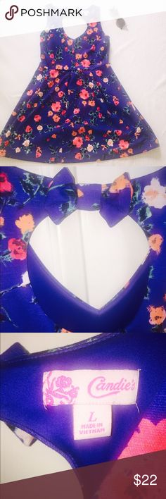Blue floral skater dress ⏳weekened sale⏳ Blue floral Candies skater dress. Size large. No pockets. Moderately thick material; perfect for summer or fall. Great condition! Features a key hole back with bow. No holes, rips,or stains. Smoke and animal free environment. Belt loops,but no belt. Candie's Dresses Midi