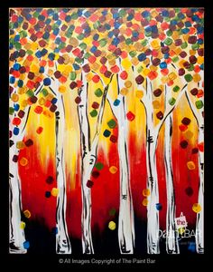 Colorful Birch Trees - a perfect #Fall painting!