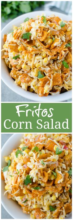 Crisp corn, bell pepper, cheese, and Chili Cheese Fritos in a creamy dressing. The perfect no cook, super easy summer side dish for all your barbecues! Fruit Salad Recipes, Chicken Salad Recipes, Mexican Food Recipes, Vegetarian Recipes, Summer Side Dishes, Corn Salads, Side Dish Recipes, Dinner Recipes, Dinner Ideas