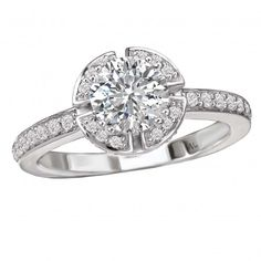 Halo Semi-Mount Diamond Ring $1,695 Style: 115228-100 Halo Diamond Ring in 14kt White Gold. (D 1/4 carat total weight) This item is a SEMI-MOUNT and it comes with NO CENTER STONE as shown but it will accommodate a 6.5mm round center stone.