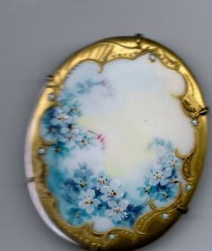 Vintage Hand Painted French Porcelain Victorian Brooch/ Pin