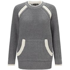 Rag & Bone Grey Melange Knitted Camille Jumper (165 BRL) ❤ liked on Polyvore featuring tops, sweaters, grey, chunky striped sweater, raglan sweater, gray sweater, chunky grey sweater and grey top