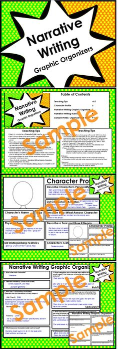 Character Profile, Narrative Writing Graphic Organizer,  and Narrative Writing Rubric ---Common Core Aligned for Grades 3-5 $
