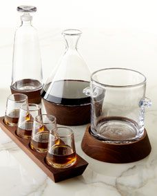 Cordial Glass Set, Decanter, Carafe, and Ice Bucket by Simon Pearce at Neiman Marcus. Cordial, Black And Copper Kitchen, Neiman Marcus, Simon Pearce, Alcohol Bottles, Glass Kitchen, Tea Service, Bar Drinks, Elle Decor