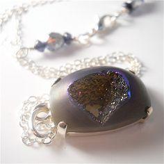 Plum Druzy Lavender Purple Drusy Agate Geode by YourDailyJewels, $74.00