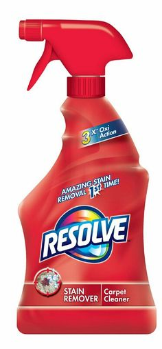 Resolve carpet stain remover. Removes stains the 1st time. 3X Oxi Action.