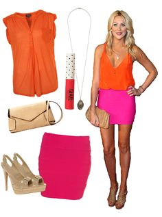Stephanie Pratt hot pink skirt orange top nude purse nude heels dark pink lip gloss gold necklace
