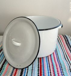 White and black Enamel Pot Enamelware Cottage Chic by KimBuilt, $14.00