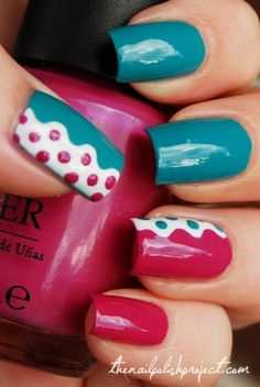 Two different colors with a contrast color using craft scissors and tape plus a little dotting. - DIY nail art designs