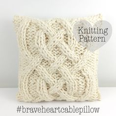 Cable knitting made easy with this pillow knitting pattern! Chunky cable knit pillow to make your home cozy. Easy-to-follow instructions for beginner knitters and experts alike. Get your hygge on!