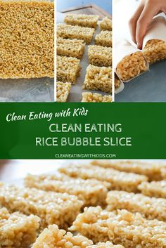 Its no bake and only three ingredients. A bit to… Clean Eating Rice Bubble Slice. Clean Eating Desserts, Healthy Eating Tips, Healthy Baking, Healthy Snacks, Dinner Healthy, Healthy Moms, Vegan Baking, Vegan Snacks, Eating Habits