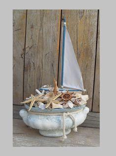 Vitorlát fel! - tengerész asztaldísz, Dekoráció, Otthon, lakberendezés, Dísz, Meska Driftwood Crafts, Beach House Decor, Home Decor, Beach Themes, Crafts To Sell, Sea Shells, Summer Time, Decoupage, Nautical