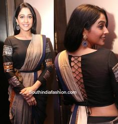 Flaunting the saree look with a peplum twist Regina Cassandra in a pant style saree photo Saree Blouse Neck Designs, Fancy Blouse Designs, Stylish Blouse Design, Designer Blouse Patterns, Indian Designer Outfits, Saree Jackets, Content, Regina Cassandra, Chiffon Blouses