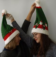 Ravelry: Two Christmas Hats by Natalia Gracheva Knit In The Round, Circular Needles, Christmas Hat, Knitted Hats, Knitting Patterns, Winter Hats, At Least, Take That, Charts