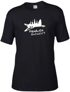 COOLES HAMBURG GITARRE SKYLINE BIO-ORGANIC T-SHIRT 100% ZERTIFIZIERTE BAUMWOLLE!