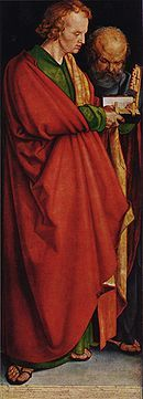 The Four Apostles - Left Panel with St. John in front and St. Peter behind. 1526, Durer. Primacy of the bible over Catholic church hierarchy.