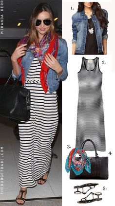 Dress by Number: Miranda Kerrs Striped Maxi Dress and Sandals - The Budget Babe